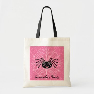 Halloween Themed Girlie Spider on Web Personalized Halloween Treat Tote Bag