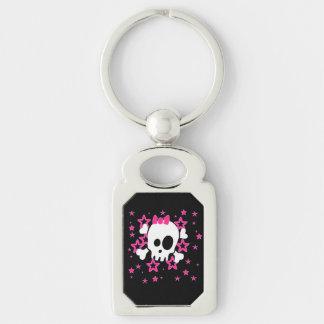 Girlie White Skull Cartoon Black Color Keychain