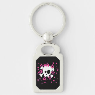 Girlie White Skull Cartoon Black Color Silver-Colored Rectangular Metal Keychain