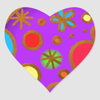 Girlish Painted Colorful Purple Red Heart Sticker