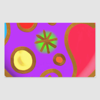 Girlish Painted Colorful Purple Red Rectangular Sticker