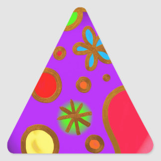 Girlish Painted Colorful Purple Red Triangle Sticker