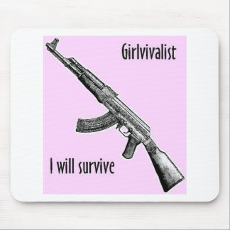 Girlivalist with AK47 Mouse Pad