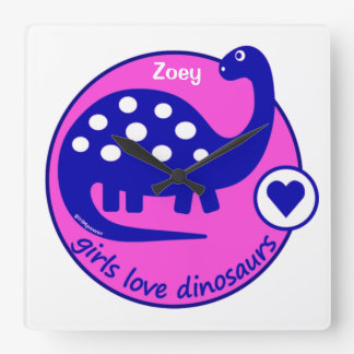 GIRLMPOWER BOLD PINK GIRL DINOSAUR CUSTOMIZED DINO SQUARE WALL CLOCK