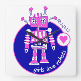 GIRLMPOWER CUTE BRIGHT PINK GIRLS ROBOT CUSTOMIZED SQUARE WALL CLOCK