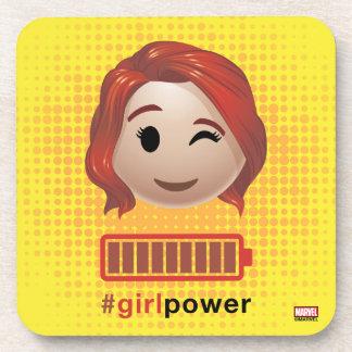 #girlpower Black Widow Emoji Beverage Coaster