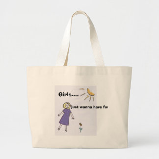 girlpurple, Girls...., just wanna have fun Large Tote Bag