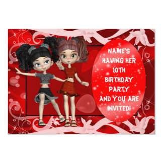 Girls 10th Birthday Party Invitation, Red Card