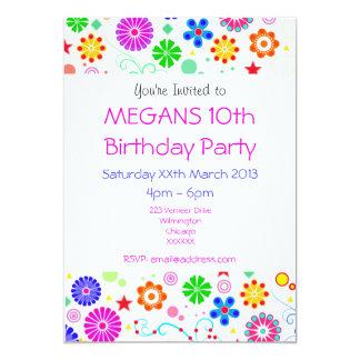 Girls 10th Birthday Party Invite 13 Cm X 18 Cm Invitation Card