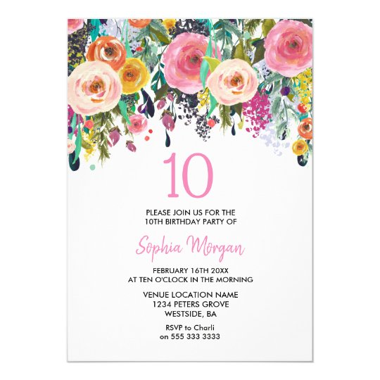 Girls 10th Birthday Party Invite Pink Flowers