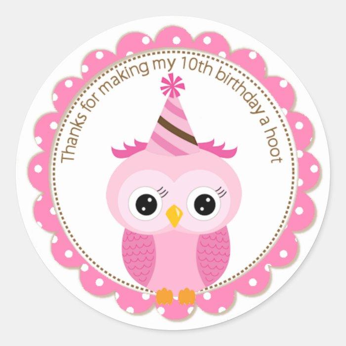 Girls 10th Birthday Pink Owl Thank You Classic Round Sticker