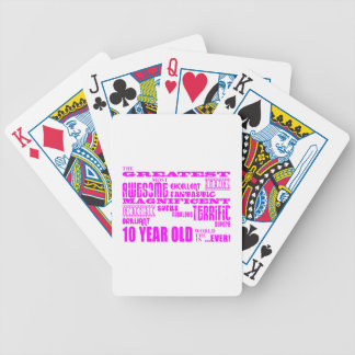 Girls 10th Birthdays : Pink Greatest 10 Year Old Bicycle Playing Cards