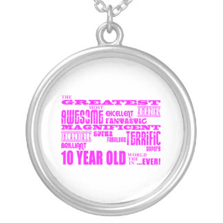 Girls 10th Birthdays : Pink Greatest 10 Year Old Silver Plated Necklace