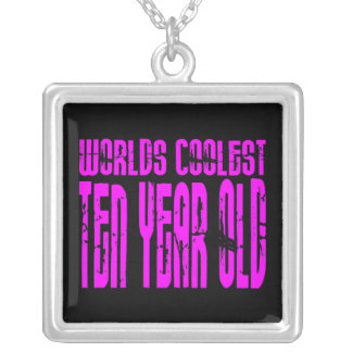 Girls 10th Birthdays Pink Worlds Coolest Ten Year Silver Plated Necklace