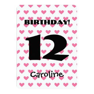 Girl's 12th Birthday Custom Name Modern W11 HEARTS Card