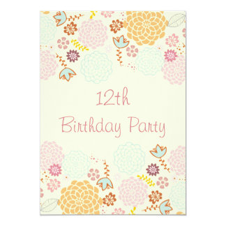 "Girl's 12th Birthday Fancy Modern Floral 5"" X 7"" Invitation Card"