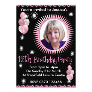 Girls 12th Birthday Party Invitations Announcements Zazzle