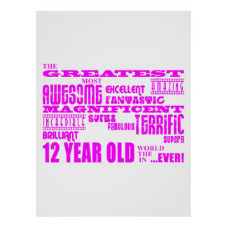 Girls 12th Birthdays : Pink Greatest 12 Year Old Poster