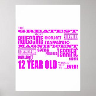 Girls 12th Birthdays : Pink Greatest 12 Year Old Print