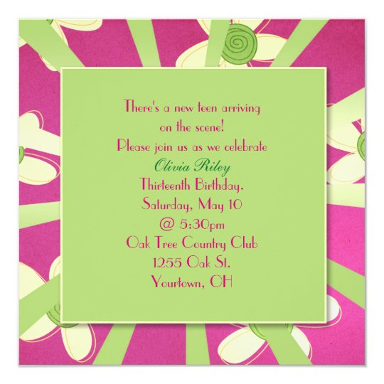 Girl's 13th Birthday Party Invitation