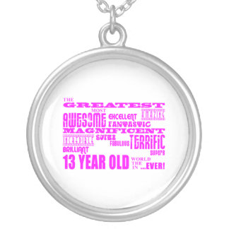 Girls 13th Birthdays : Pink Greatest 13 Year Old Silver Plated Necklace