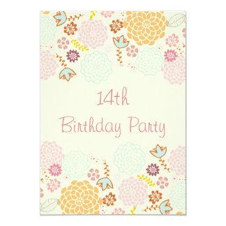 "Girl's 14th Birthday Fancy Modern Floral 5"" X 7"" Invitation Card"
