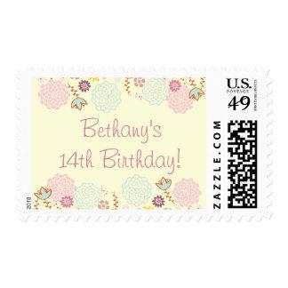 Girl's 14th Birthday Fancy Modern Floral Stamp