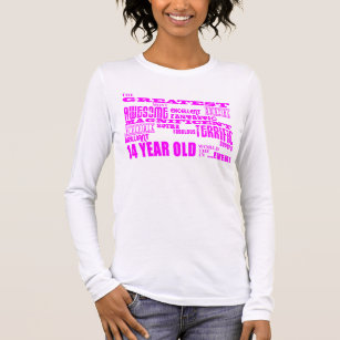 Girls 14th Birthdays Pink Greatest 14 Year Old Long Sleeve T Shirt