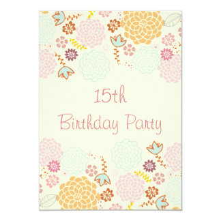 "Girl's 15th Birthday Fancy Modern Floral 5"" X 7"" Invitation Card"