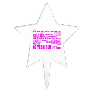 Girls 16th Birthdays : Pink Greatest 16 Year Old Cake Picks