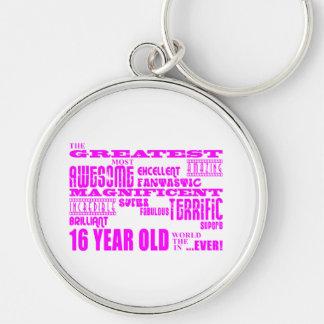 Girls 16th Birthdays : Pink Greatest 16 Year Old Keychain