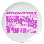 Girls 16th Birthdays : Pink Greatest 16 Year Old Dinner Plate