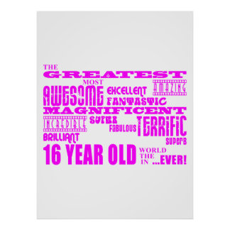 Girls 16th Birthdays Pink Greatest 16 Year Old Print