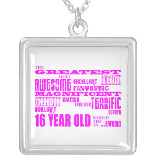 Girls 16th Birthdays : Pink Greatest 16 Year Old Square Pendant Necklace