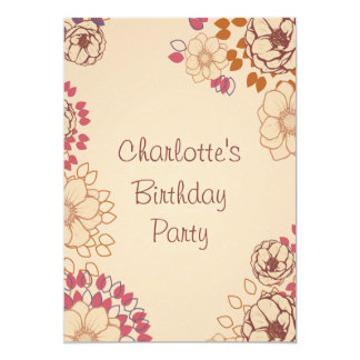 "Girl's 17th Birthday Cute Modern Floral 5"" X 7"" Invitation Card"