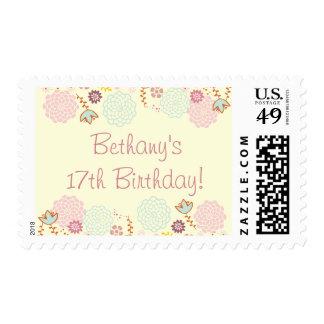 Girl's 17th Birthday Fancy Modern Floral Postage Stamp