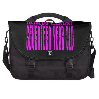 Girls 17th Birthdays Pink Worlds Coolest Seventeen Laptop Commuter Bag