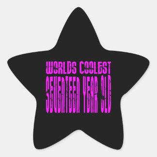 Girls 17th Birthdays Pink Worlds Coolest Seventeen Sticker