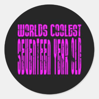 Girls 17th Birthdays Pink Worlds Coolest Seventeen Stickers