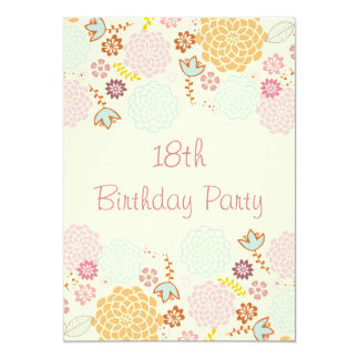 "Girl's 18th Birthday Fancy Modern Floral 5"" X 7"" Invitation Card"