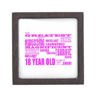 Girls 18th Birthdays : Pink Greatest 18 Year Old Keepsake Box