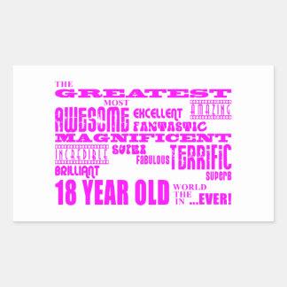 Girls 18th Birthdays : Pink Greatest 18 Year Old Rectangular Sticker