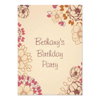 "Girl's 19th Birthday Cute Modern Floral 5"" X 7"" Invitation Card"