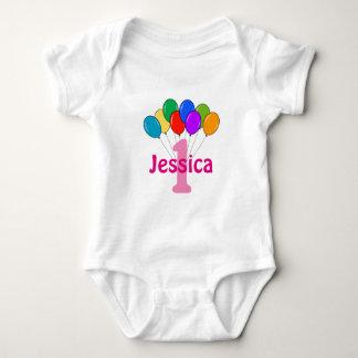 Girls 1st Birthday colored balloons baby creeper