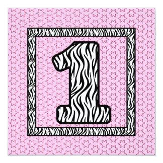 Girl's 1st Birthday Custom Name Modern Zebra V01 Invitation