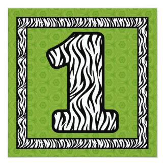 Girl's 1st Birthday Custom Name Modern Zebra V14B3 Invitation