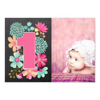 Girls 1st Birthday Number 1 Photo Invitation