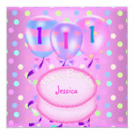 Girls 1st Birthday Party Balloons Cake Streamers 5.25x5.25 Square Paper Invitation Card
