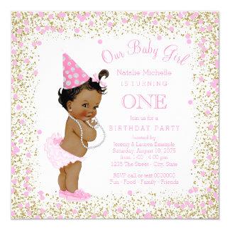 Girls 1st Birthday Party Pink Gold Glitter Ethnic Card