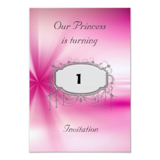 Girls 1st Birthday Party Pink Silver  Invitation